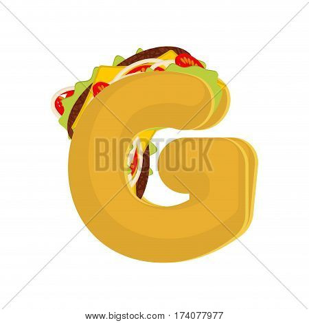 Letter G Tacos. Mexican Fast Food Font. Taco Alphabet Symbol. Mexico Meal Abc