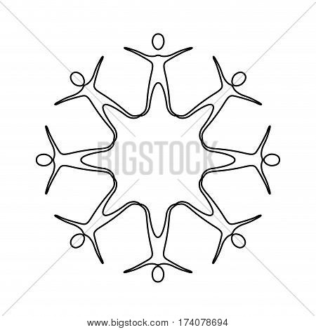 figure people making a star with their legs, vector illustraction design