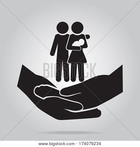 Family on hand clasped icon care or protection relationship concept
