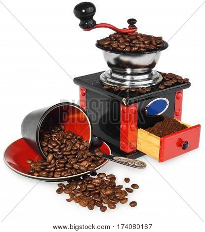 Old antique wooden coffee grinder. Coffee mill hand-painted in black red and blue. Next to the mill black and red cup silver spoon and spilled coffee beans. The whole composition isolated on white background with light shadow and reflection.