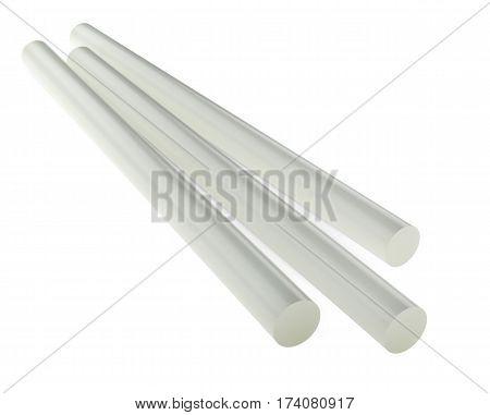 Hot melt glue sticks for gluegun. 3d illustration isolated on awhite background.