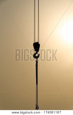 lifting hook of a lifting crane on a construction site
