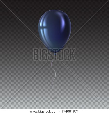 Inflatable air flying balloon isolated on transparent background. Close-up look at black balloon with reflects. Realistic 3D vector illustration
