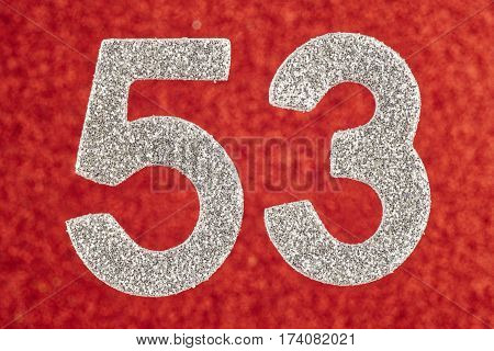 Number fifty-three silver color over a red background. Anniversary. Horizontal