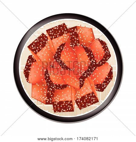 Chinese Cuisine Illustration of Lufu Rufu Sufu Tofu Cheese Soy Cheese Preserved Tofu or Red Chinese Fermented Bean Curd Isolated on White Background..