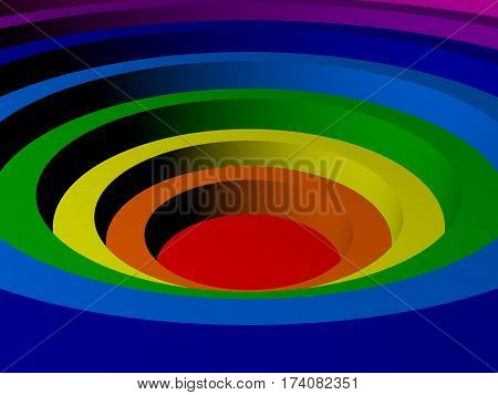 Colored concentric circles in the form of a color spectrum made in 3D