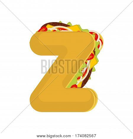 Letter Z Tacos. Mexican Fast Food Font. Taco Alphabet Symbol. Mexico Meal Abc