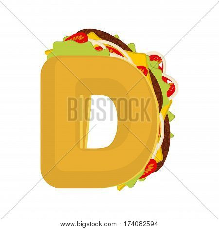 Letter D Tacos. Mexican Fast Food Font. Taco Alphabet Symbol. Mexico Meal Abc