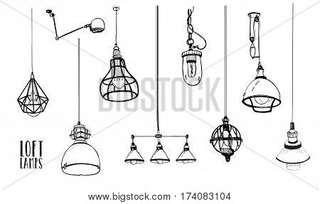 Hand drawn vector collection. Set of modern isolated edison loft lamps, vintage, retro style light bulbs.