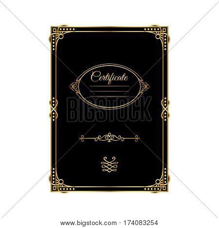 Vintage golden frame certificate template, black background. Vector illustration