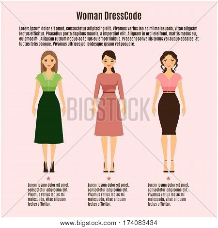 Woman Dress Code vector infographic on pink background