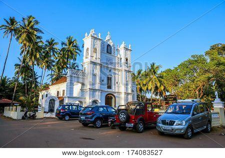 GOA INDIA - JANUARY 20 Beautiful temple in Anjuna January 20 2016 Goa India.