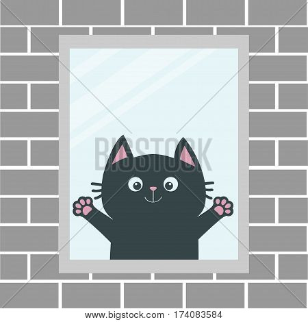 Black cat in the window. House brick wall. Open hand paw print. Kitty reaching for a hug. Funny Kawaii animal. Baby card. Cute cartoon character. Pet collection. Flat White background Isolated. Vector
