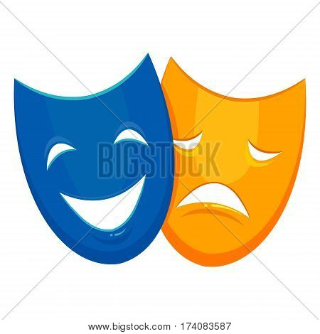 Vector Illustration of Two Face Mask Happy and Sad Emotion