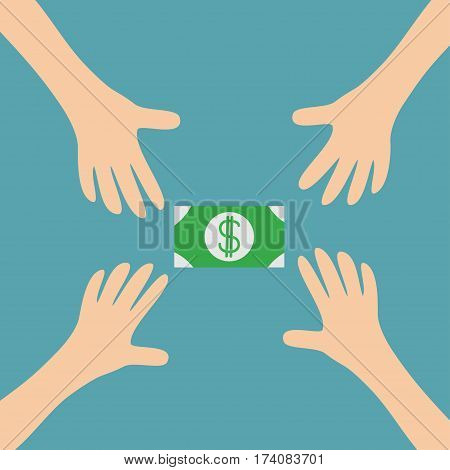 Four Hands arms reaching to cash paper green money dollar sign symbol. Taking hand. Close up body part. Business card. Flat design. Wealth concept. Blue background. Isolated. Vector illustration