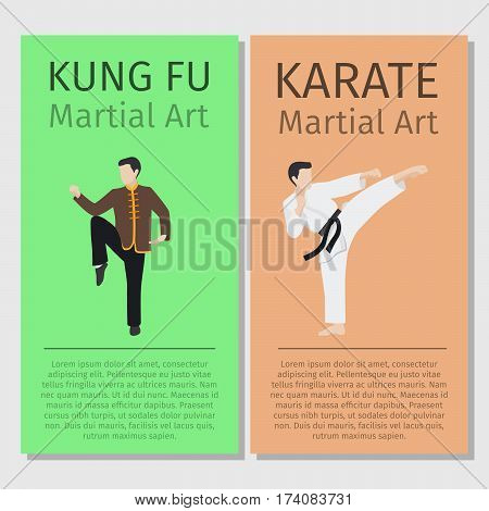 Asian martial arts vector flyers set. Kung fu and Karate man characters illustration