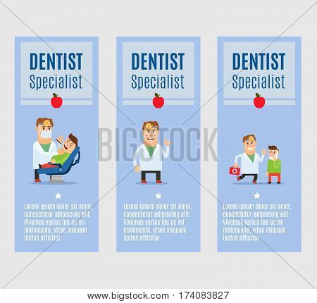 Dentist specialist vector flyers design with happy doctor character