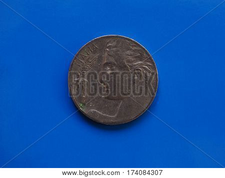 20 Cents Coin, Kingdom Of Italy Over Blue