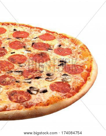photo on a white background pizza, Italian food, tasty, healthy, fast, cheap,