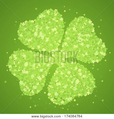 Green four-leaf clover made from little clovers on green background whith glow and sparks. Vector illustration