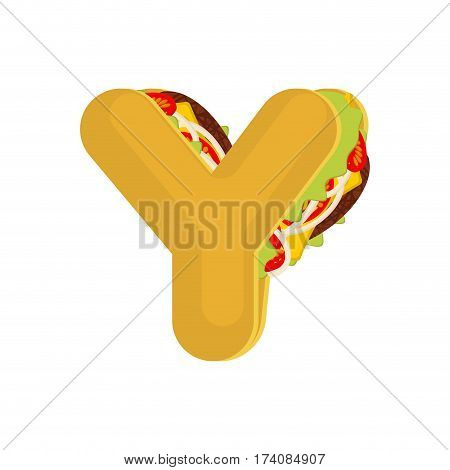 Letter Y Tacos. Mexican Fast Food Font. Taco Alphabet Symbol. Mexico Meal Abc