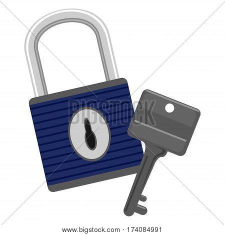 Vector Illustration of Metal Key and PadLock