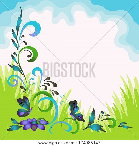 Background with Summer Landscape, Symbolical Flowers, Butterflies, Green Grass and Blue Sky