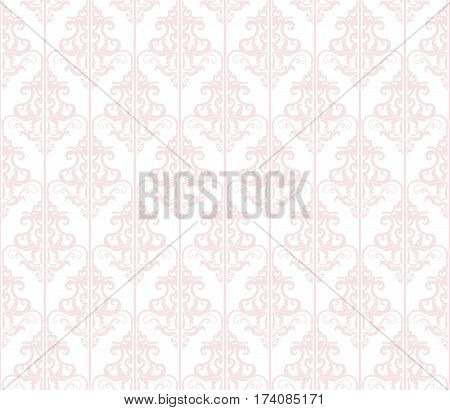 Damask seamless pattern background. Pastel pink and white. Vintage. For wedding design. Vector.
