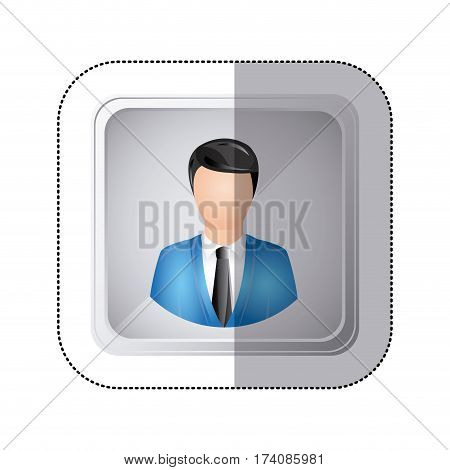 sticker silver square button with faceless executive man vector illustration