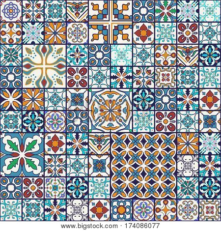 Vector seamless texture. Beautiful mega patchwork pattern for design and fashion with decorative elements. Portuguese tiles, Azulejo, Moroccan ornaments