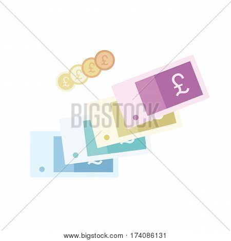 Money vector illustration. Flat style vector icon isolated on white background. Pound sterling currency.