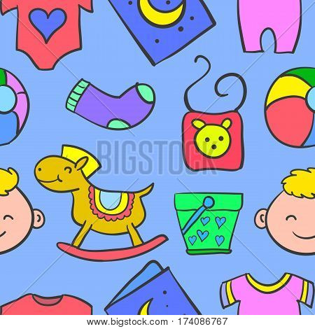 Illustration of element baby doodles collection stock