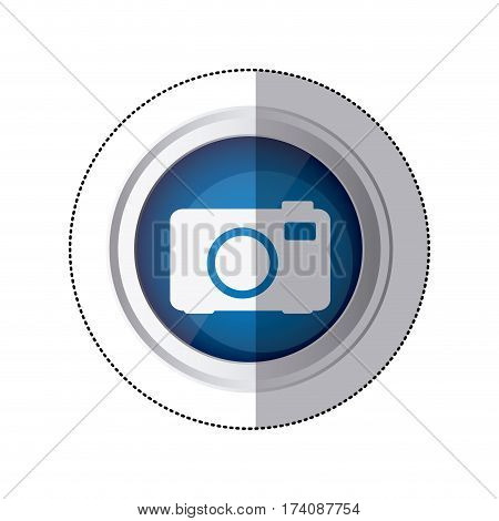 sticker blue circular button with silhouette analog camera vector illustration