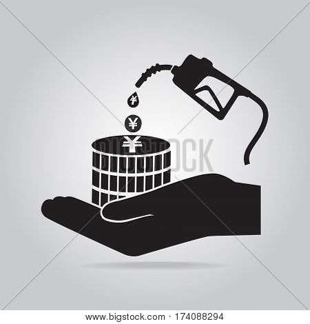 Gasoline pump in hand icon. Protection or safety concept