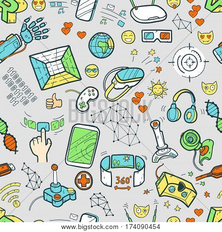 Doodle vector seamless pattern with virtual reality and innovative technologies. Hand drawn objects: computer, internet, gamepad, smartphone, joystick, vr-device, 3d-glasses, emoji. Cute style.