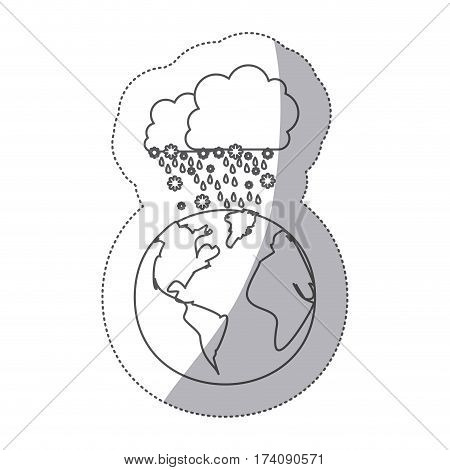 sticker silhouette earth world cloud with cumulus of clouds with snow rain vector illustration