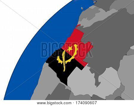 Angola With Flag On Political Globe