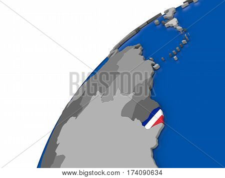 French Guiana With Flag On Political Globe