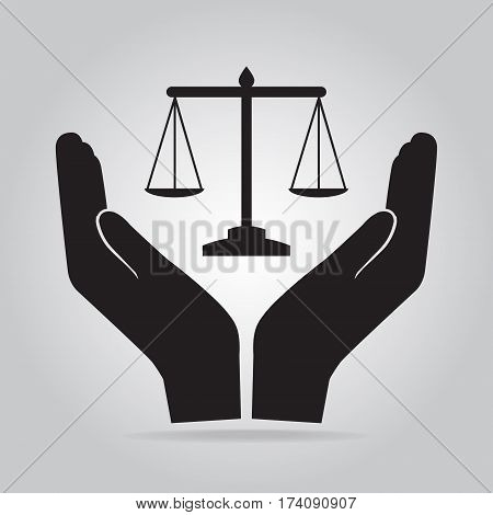 Justice scale in hand icon protection concept