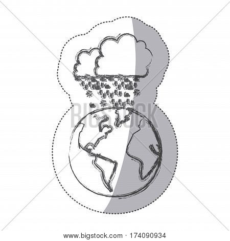 sticker blurred silhouette earth world cloud with cumulus of clouds with snow rain vector illustration