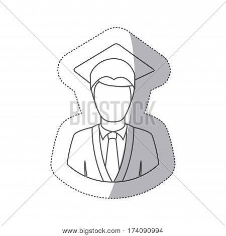 sticker silhouette half body man with graduation outfit vector illustration