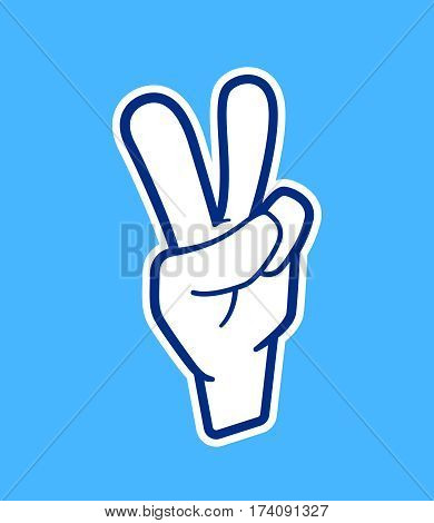 Vector sticker with victory or peace hand sign in outline cartoon style. Number two gesture with arm for trendy applique template