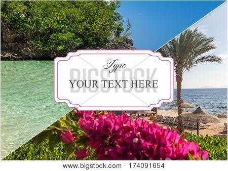 The beach at the luxury hotel, Sharm el Sheikh, Egypt. Jamaica beach. Collage