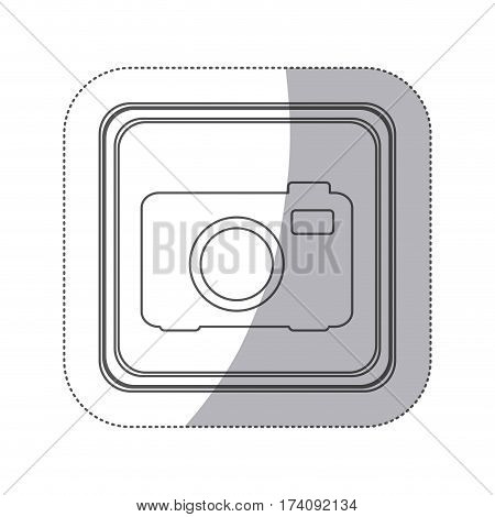 sticker monochrome silhouette square button with analog camera vector illustration