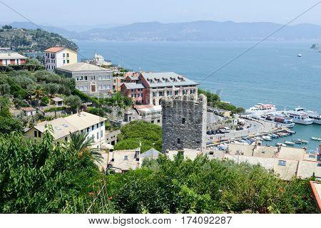 Portovenere Italy - 7 July 2015: View at the harbor of Portovenere on Italy