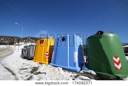 Bins For The Collection Of Waste In Winter With Snow