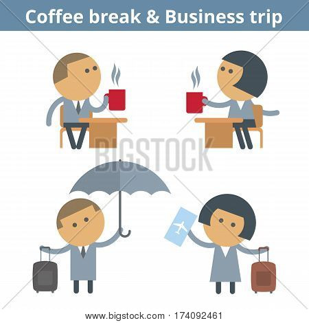 Business cartoon avatar set: business trip travel and coffee break. Vector flat journey airport flight expectation userpic and icons. Collection for web design social networks and infographics.