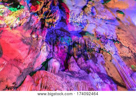 stalactites and stalagmites in a cave at Chiangdao cave temple Chiangmai Thailand