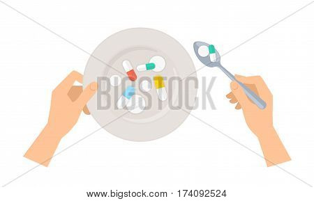 Human hands with spoon and plate of cure and pills. Flat concept illustration of ceramic dish and metal utensil tool with drugs. Vector elements for web design social networks medical infographics.