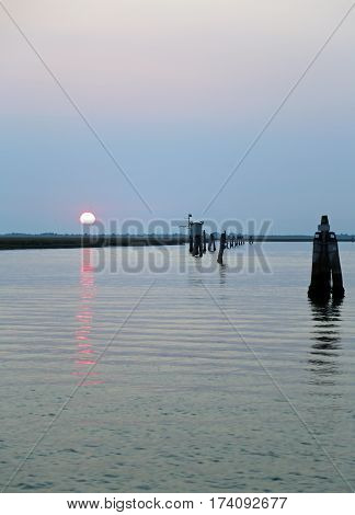 Sun On The Lagoon At Dawn On A Summer Day